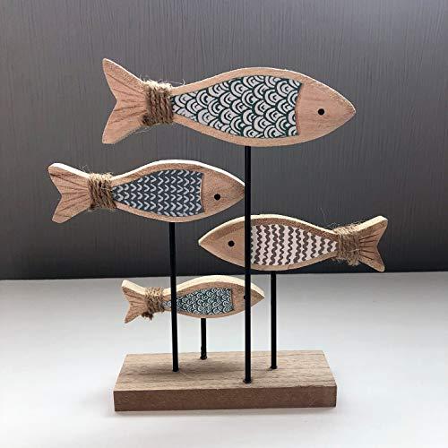 Mezzaluna Gifts - Banco de madera (4 unidades), diseño de peces en zócalo