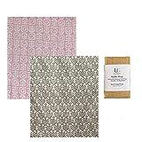 UC Urban Creative - Madhu Wrap (Beeswax Food Wraps)- Set of 2 Large in Certified Organic Fabric (Mix Prints)