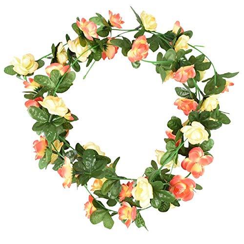 OSALAD 2pcs 240cm Wisteria Seda Artificial Rose Flores Colgante De Pared Ivy Vine Green Rattan Garland para La Decoración De La Boda Suministros para El Jardín del Hogar