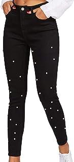 Donna A Vita Alta Larghi Elastico Skinny Jeans Pantaloni in Denim Lunghi,Mambain 8311