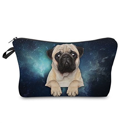 Makeup Toiletry Cosmetic Travel Carry Bag Zippered Luggage Pouch Multifunction Make-up Bag Pencil Holder Organizer For Men and Women (Cute Pug)