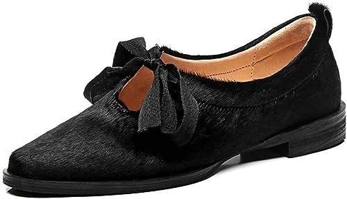 XLY Mocassins en Cuir pour Femmes Pointu Toe Lace Up Ladies Robe Chaussures,noir,39