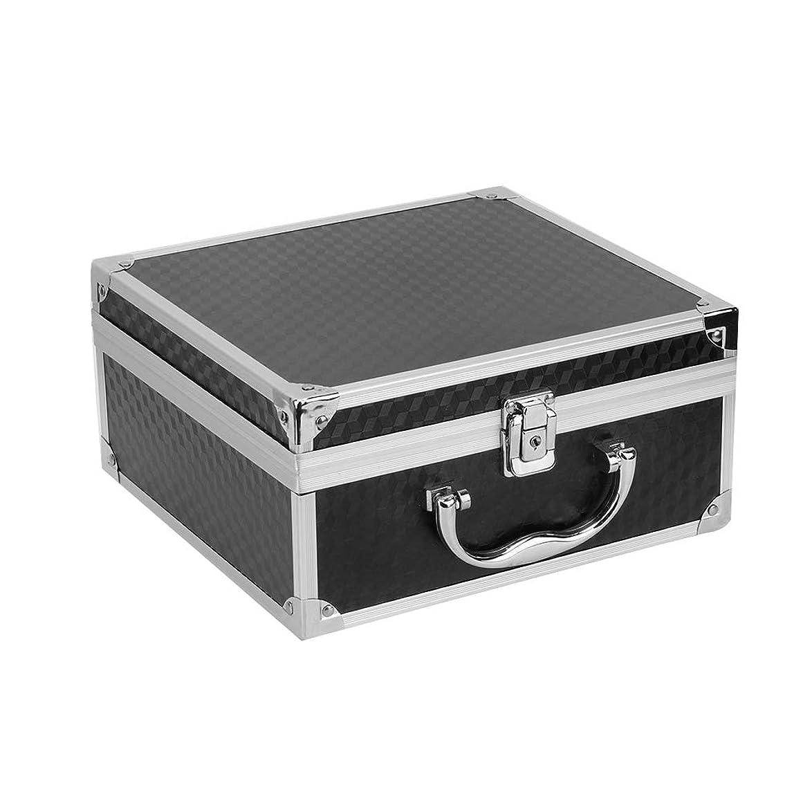 平均機転無知アルミ合金の入れ墨機械箱、専門の大きい入れ墨の箱の入れ墨のキット箱、錠が付いている化粧品の収納ケースのオルガナイザーの貯蔵の供給(黒)(ブラック)