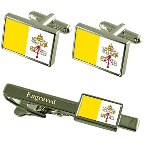 Ciudad del Vaticano la Bandera del Vaticano Gemelos Grabado Set Clip de Corbata