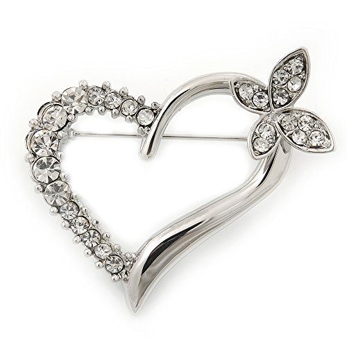 Open Diamante Heart&Butterfly Brooch In Rhodium Plated Metal - 4cm Length