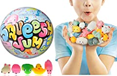 1 Surprise Ball with 5 Assorted Random Mochi Squishy Super Stretchy and Soft Characters. Great Mystery Gifts for Girls Party Favors, Easter Basket Egg. Plus 1 Small Collectable Bouncy Ball by JA-RU Mini squishy designed with vibrant colors & vivid lo...