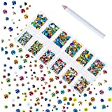 Zealer 1800pcs Crystals Colorful Nail Art Rhinestones Round Beads Top Grade Flatback Glass Charms Gems Stones for Nails Decoration Crafts Eye Makeup Clothes Shoes 300pcs Each (Mix SS3 6 10 12 16 20)