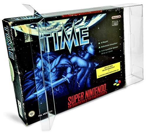 2 x Klarsicht Schutzhüllen für Super Nintendo BIG BOX OVP 0,3mm SNES Passgenau und Glasklar-PET-Reset Retro Game Protectors-cases-box-Staubdicht-UV-Schutz