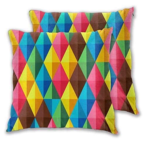 Funda Almohada de 45 cm x 45 cm,Juego de 2 Fundas de cojín,geométrico Abstracto Colorido Rojo Amarillo Azul marrón,Funda Almohada Decorativa,para sofá