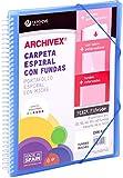 Carchivo - Carpeta personalizable de 60 fundas con espiral Archivex Star, color azul