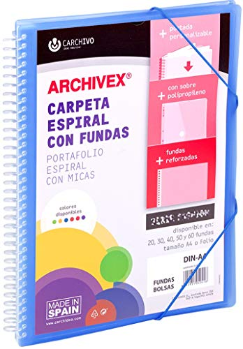 Carchivo - Carpeta personalizable de 30 fundas con espiral Archivex Star, color azul
