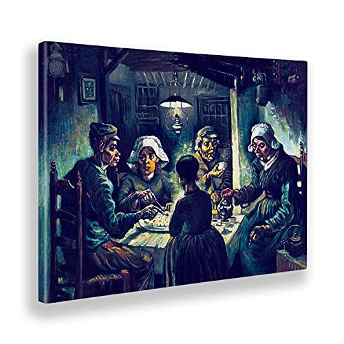 Giallobus - Quadro - Vincent Van Gogh - I mangiatori di Patate 2 - Tela Canvas - 70x50 - Pronto da Appendere - Quadri Moderni per la casa