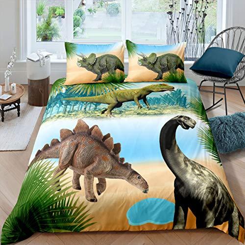 Loussiesd 3D Dinosaurier Bettwäsche Set Kinder Bettbezug Set Cartoon Dinosaurier Betten Set für Kinder Mädchen Jungen 2 Stück 100x135cm + 40x60cm Ultraweiche Mikrofaser Bettwäsche Set, Niedlich
