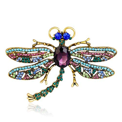 Natural Animals Brooch Pins Bee Dragonfly Butterfly Ladybug Parrot Bird Cat Lizard Brooches for Women Crystal Brooch-Dragonfly