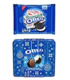 Oreo Fudge Covered, White Fudge Covered, & Peppermint Bark Gift Set - 1 Holiday Tin of 24 Fudge Covered Cookies and 1 Bag of Limited Edition Peppermint Bark Oreos