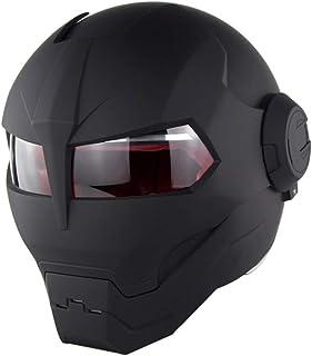 ZOLOP Casco integral para motocicleta, certificación DOT, casco estilo flip estilo retro Harley Transformers de Iron Man (L, Negro mate)