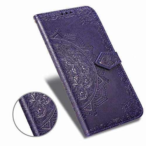 Wallet Case Compatible with iPhone 11 Pro(2019) 5.8 inch 11Pro Case Mandala Flower Floral Embossed Leather flip Cover Stand Wrist Strap Hole 3-Slots ID&Credit Cards Pocket Magnetic Clasps -Purple