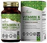 Ezyleaf Súper Complejo de Vitamina K | Complejo de Vitamina K con Vitamina K2 MK7, Vitamina K2 MK4 y Vitamina K1 | 90 Cápsulas de Vitamina K - 1500μg de Vitamina K1 por Porción, Sin OGM ni Alérgenos