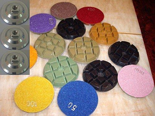 "4"" Damo Diamond Floor Polishing Pads 54 Pieces PLUS 6 Piece Aluminum Backerfor Concrete / Terrazzo / Granite"