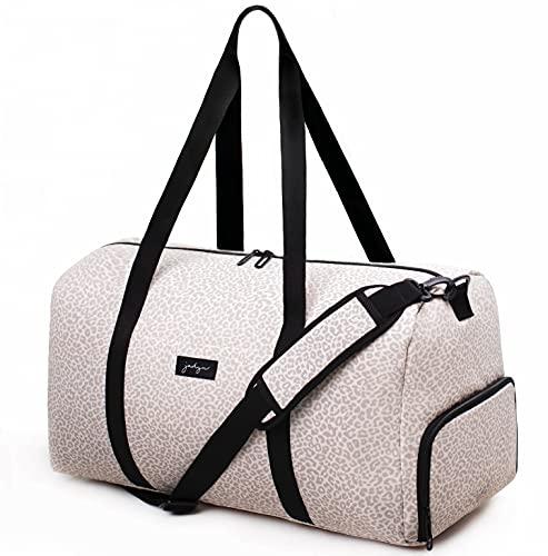 Jadyn Bolso grande para mujer de 22 pulgadas con bolsillo para zapatos, Leopardo del desierto, L, Weekender