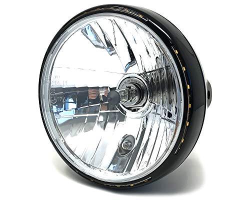 """Retro Moto Faro 7.5"""" 55W con Slim LED Halo - Negro - Homologado"""