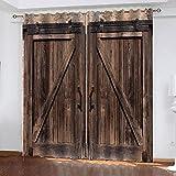 MXYHDZ Cortinas Opacas de Salon - Impresión de tablero de madera vintage Impresión 3D, Dormitorio Aislantes Termicas con Ollaos - 160 x 160 cm para Oficina y salón, Dormitorio habitación de los niños,