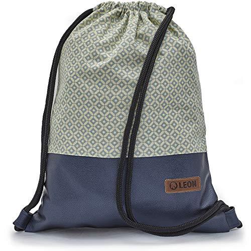 Leon By Bers Turnbeutel mit Innentaschen Reißverschluss Rucksack Beutel Tasche Damen Männer Teenager Gym Bag Gym Sack (KaroBlau_BlauMetallicPU)