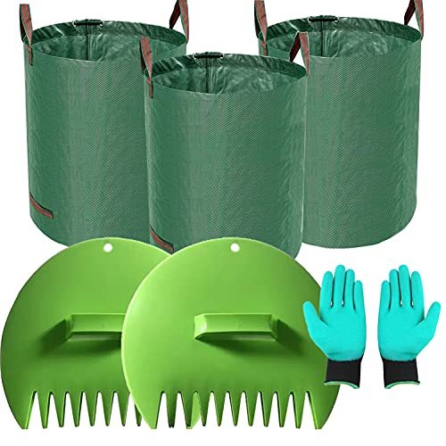 LMHEJING Leaf Scoops Large Hand Rakes with 3 Packs 80 GA Yard Waste Bags and 1Pair Gloves, Sturdy Ergonomic Handheld Rakes Comes for Fast Pick Up Leaves, Grass Clippings and Lawn (80 Gallons)