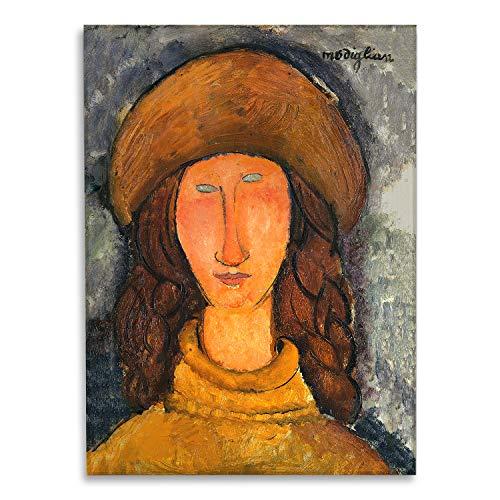 Giallobus - Schilderij - Amedeo Modigliani - Portret van Jeanne Hebuterne met gele trui - bedrukking op plexiglas acryl - klaar om op te hangen - Diverse formaten - 50x70 cm