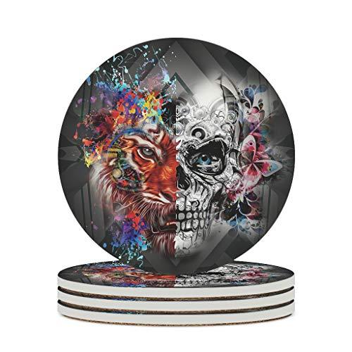 Posavasos de cerámica con dibujos animados y tigre, lisos y personales, de cerámica, divertidos, para cumpleaños, color blanco, 6 unidades