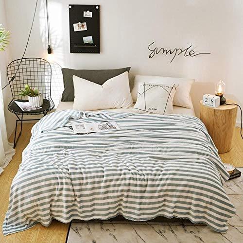 PengMu deken van zachte microvezel, warm, zacht, fluweel, duurzaam, groene strepen zonder bol, verlicht je bank, bank of bed