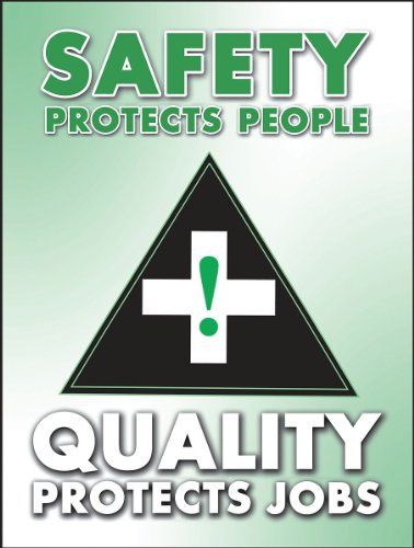"""Accuform PST116 Safety Awareness Poster,""""Safety Protects People - Quality Protects Jobs"""", 24"""" Length x 18"""" Width, Laminated Flexible Plastic"""