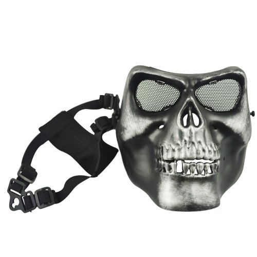 Airsoft Skeleton Skull Full Face Protector Mask (Black and Silver)/ Paintball, Game or Scenario mask (máscara/careta)