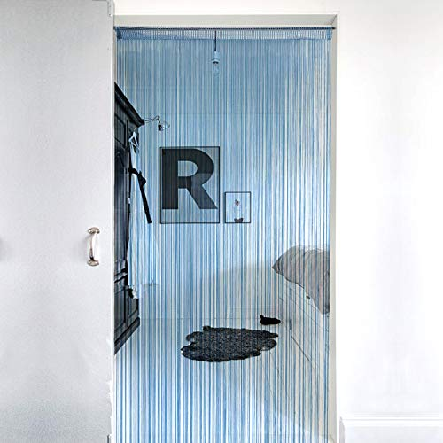 Lewondr Cortina de Hilos de Cuerda Plata, Flecos de Hilo Plateado de Panel de persianas de Ventana, Decorativa Ventana de Cortina Panel de La Puerta para Boda Casa, 39x79Inch (100x200 cm) - Azul
