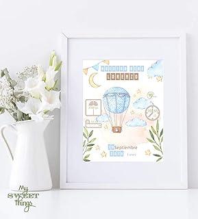 Natalicio, recuerdo de nacimiento bebe. Cuadro decorativo con datos del bebé. Incluye marco. Regalo original para recién n...
