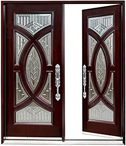 """Exterior Front Entry Double House Wood Door (Right Hand, 72""""X80"""")"""