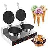 WICHEMI Commercial Electric Ice Cream Cone Waffle Machine Cone Egg Roll Baker Waffle Roll Maker Stainless Steel Nonstick Double Head 2400W Temperature &Time Control for Restaurant Home Use