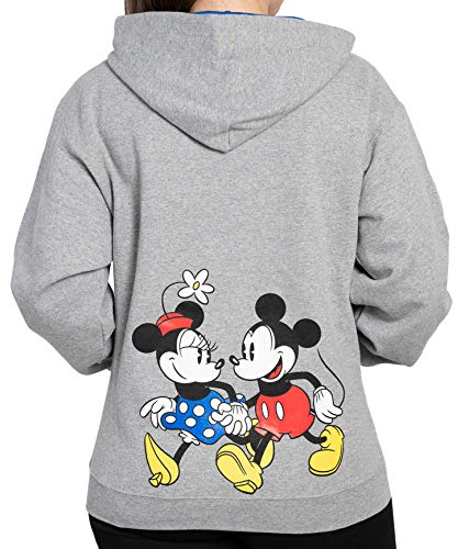 Disney Hoodie Womens Mickey & Minnie Mouse Print Zip Up (Heather Grey, Large)