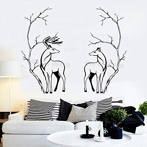 zqyjhkou s Couple Animals Tree Branches Room Decor Wall Sticker Home Decoration Living Room Art Decal Self-Adhesive Unique Gift 39x78cm