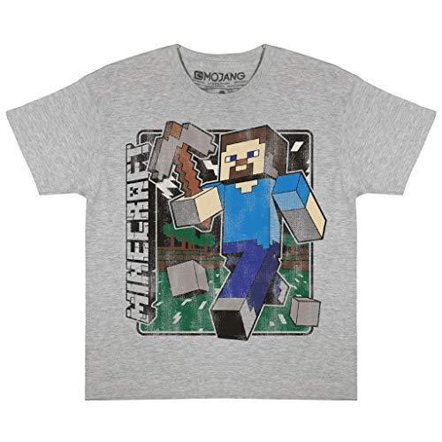 Minecraft Distressed Steve Jungen-T-Shirt Heather Grey 158 | PS4 PS5 Xbox PC wechseln Gamer Geschenke, Tween Teen Schule Jungen Gaming Top, Kinderkleidung, Kindergeburtstags-Geschenk-Idee