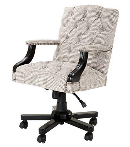 Casa Padrino Luxus Chef Büro Stuhl Creme/Braun Drehstuhl Schreibtisch Stuhl - Chefsessel