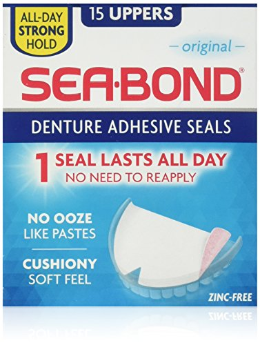 Sea Bond Secure Denture Adhesive Seals Original Uppers, Zinc Free, All Day Hold, Mess Free,15 Count