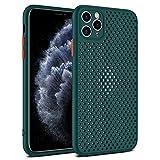 Asuthink Funda para iPhone 11 Pro MAX, Ultra Delgado Carcasa de Silicona TPU para iPhone 11 Pro MAX Case Cover, Transpirable, disipación de Calor, Compatible con Carga inalámbrica - Verde