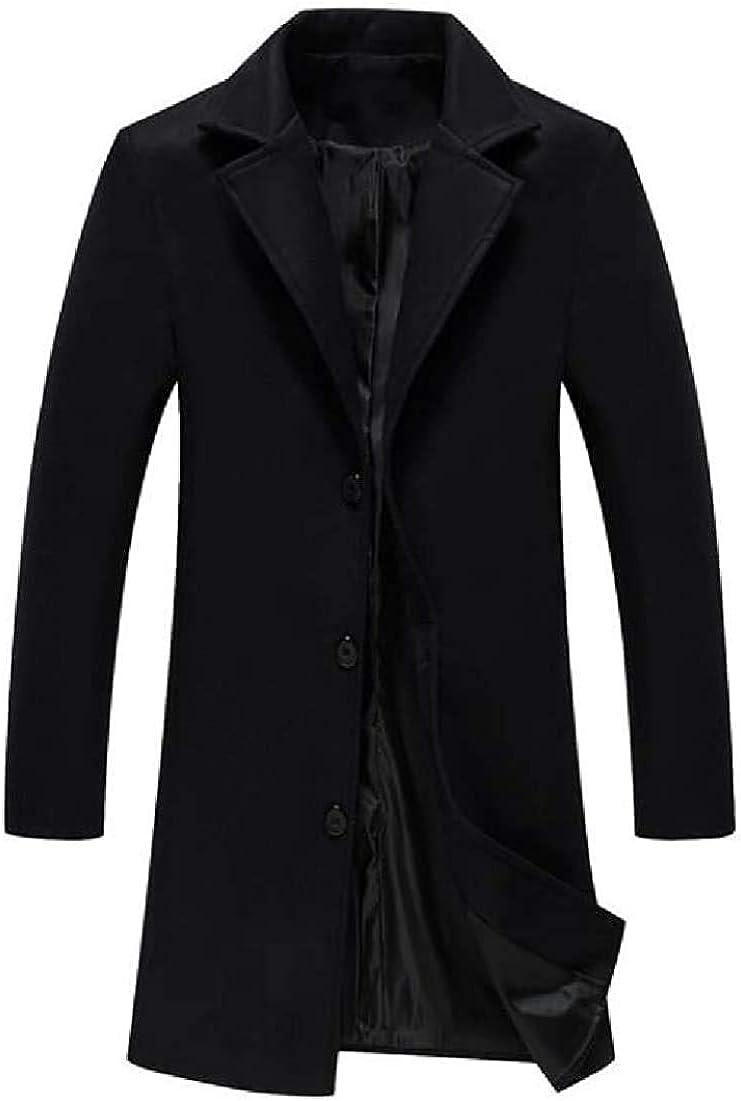 TIMOTHY BURCH Men Single-Breasted Lapel Long Jacket Wool Blend Trench Coat Mid Length Pea Coat