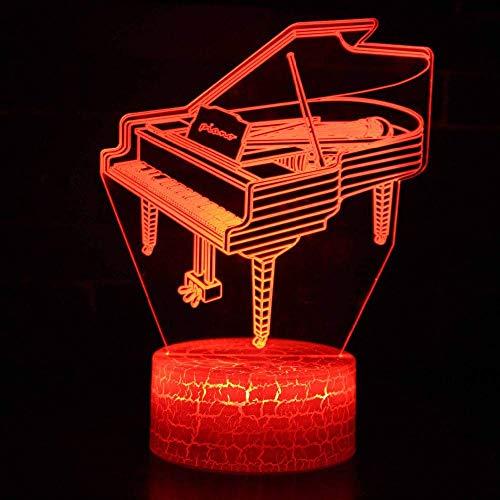 LED bedlampje bedlampje USB Piano 3D model 7 tafellamp met kleurverandering plank verlichting voor kinderslaap