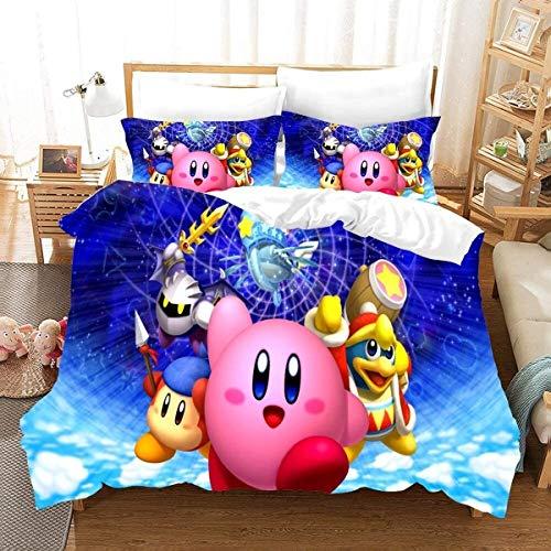 YOMOCO Kirby Cartoon-Spiel 3D niedlichen Kirby Bettbezug und Kissenbezug, kein Füllstoff, Bettwäsche für Kinder und Studenten. (z03,135x200cm+80x80cmx2)