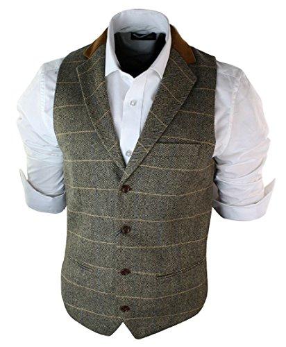 Herrenweste Braun Holzbraun Grau Tweed Fischgräte Design Vintage Eng