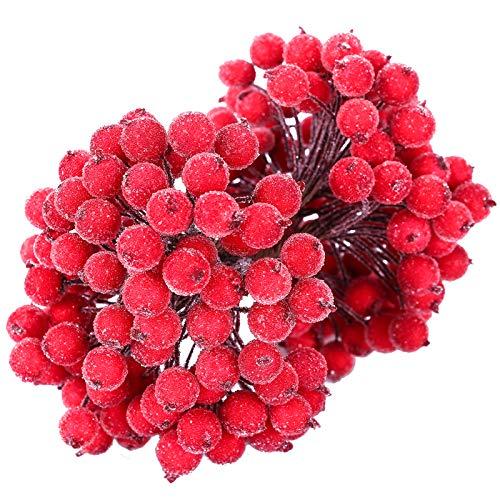 MELLIEX 200pcs Künstliche Blumen Beeren Rote Gefrostet Beerenzweige Weihnachten Beere Künstliche Mini Holly Berry Deko