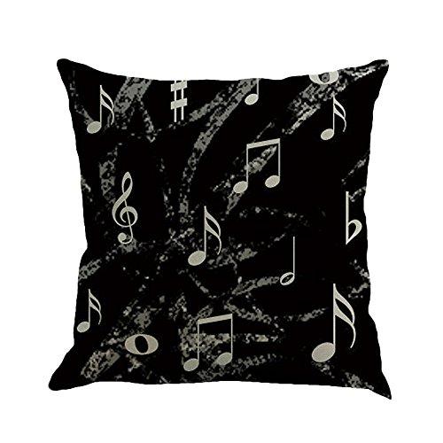 KariNao Funda de cojín 45 x 45 cm Musical Note Fundas de almohada pintura lino cojín clásico música notas sofá almohada, E, 45cmX45cm