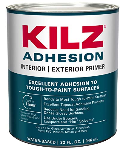 KILZ Adhesion High-Bonding Interior/Exterior Latex Primer/Sealer, White, 1 quart (Packaging may vary)